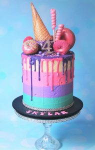 Drippy ice cream and donut cake