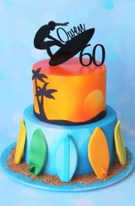 surfer themed birthday cake