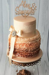 vintage ombre ruffles wedding cake