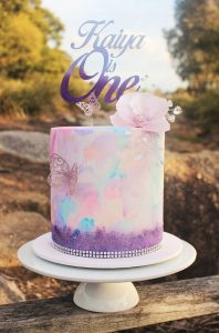 Water Colour Effect Birthday Cake