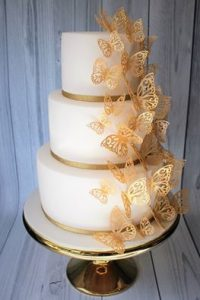 Filigree butterfly wedding cake
