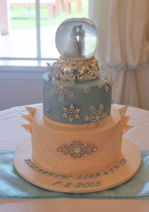 winter snow globe wedding cake