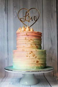 2 tier watercolour wedding cake