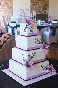 4 tier purple wedding cake