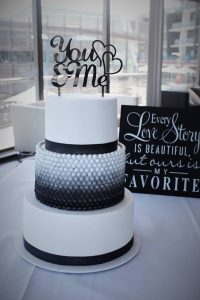 Black ombre wedding cake
