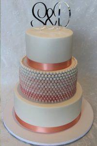 Choc pearl wedding cake