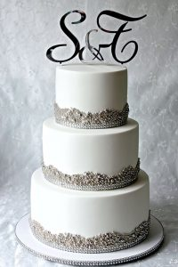 Silver bling wedding cake